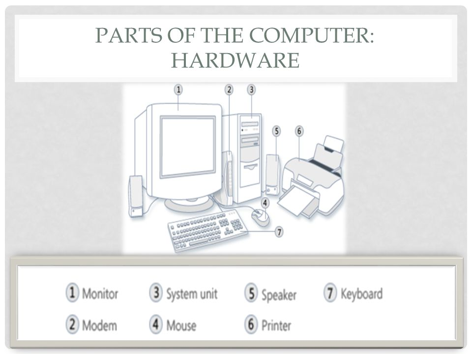 PARTS OF THE COMPUTER: HARDWARE
