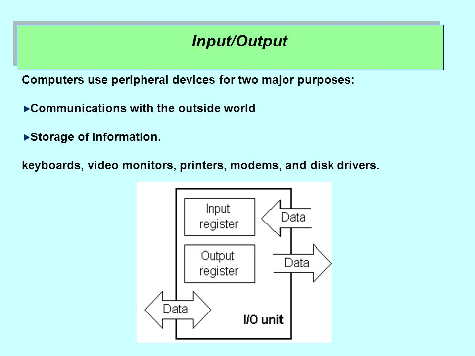 Input/Output Computers use peripheral devices for two major purposes: Communications with the outside world Storage of information.