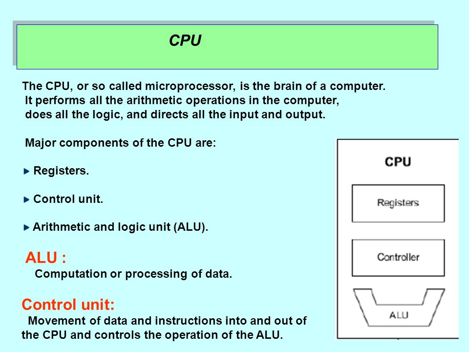 CPU The CPU, or so called microprocessor, is the brain of a computer.
