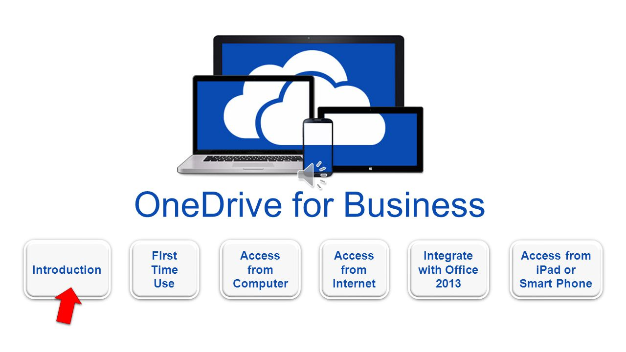OneDrive for Business Introduction First Time Use First Time Use Access from Computer Access from Computer Access from Internet Access from Internet Access from iPad or Smart Phone Access from iPad or Smart Phone Integrate with Office 2013 Integrate with Office 2013