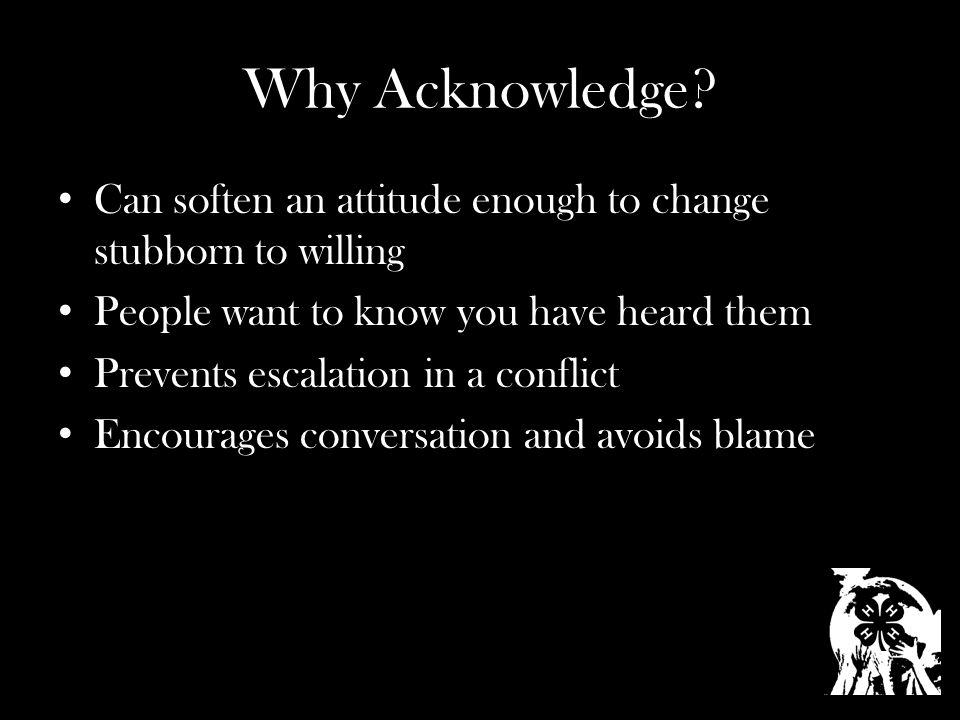 Why Acknowledge.