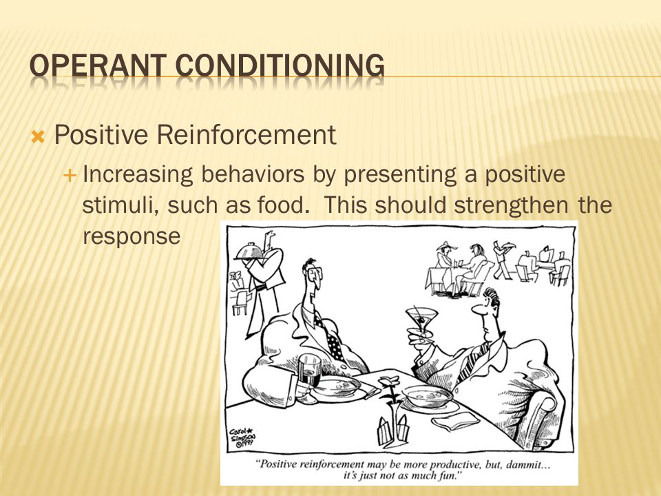  Types:  Positive Reinforcement  Negative Reinforcement