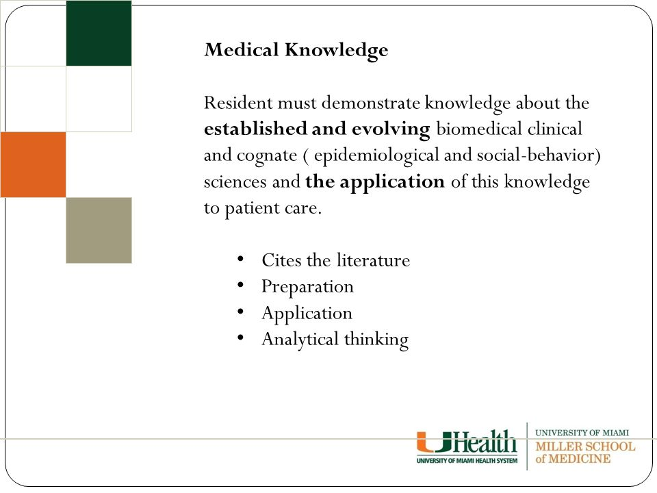 Medical Knowledge Resident must demonstrate knowledge about the established and evolving biomedical clinical and cognate ( epidemiological and social-behavior) sciences and the application of this knowledge to patient care.