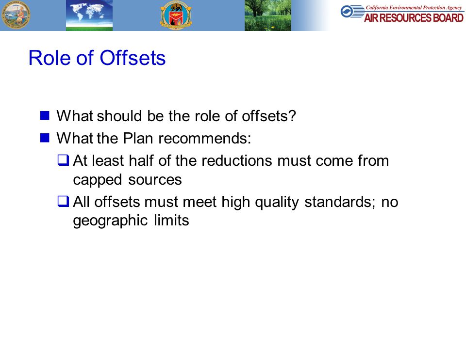 Role of Offsets What should be the role of offsets.