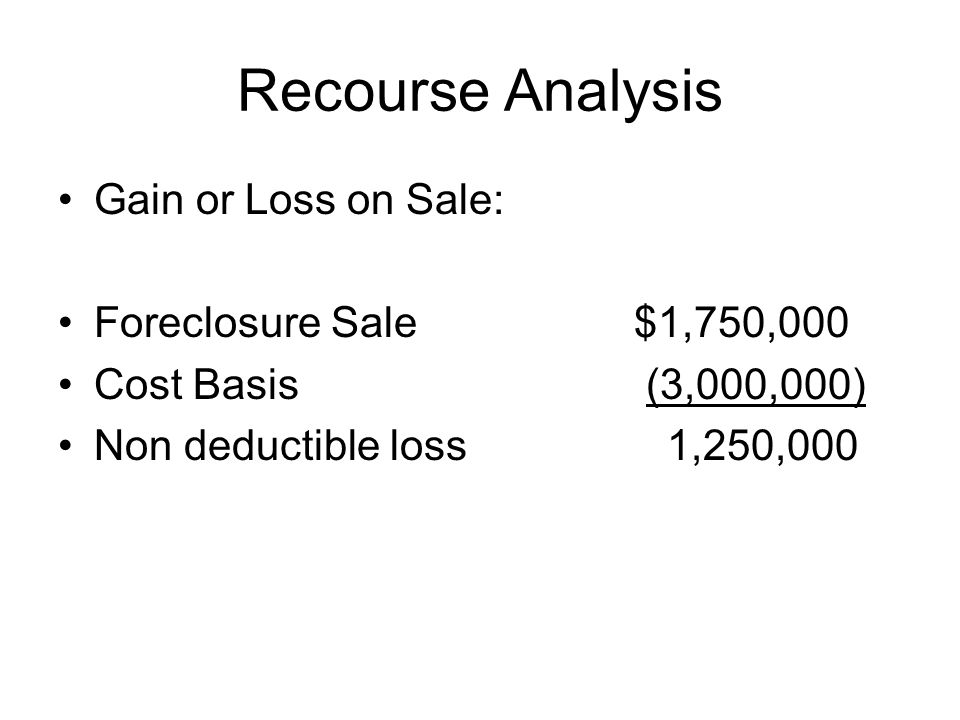 Recourse Analysis Gain or Loss on Sale: Foreclosure Sale$1,750,000 Cost Basis (3,000,000) Non deductible loss 1,250,000
