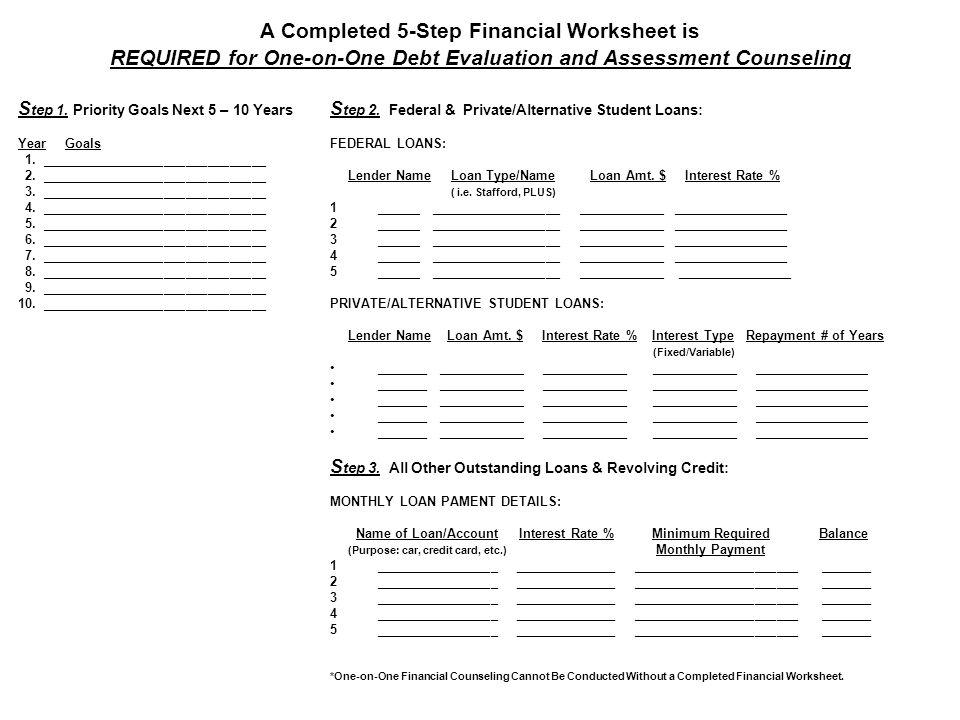 Financial Counseling Debt Evaluation Affordability Assessment 5 – Amt Worksheet