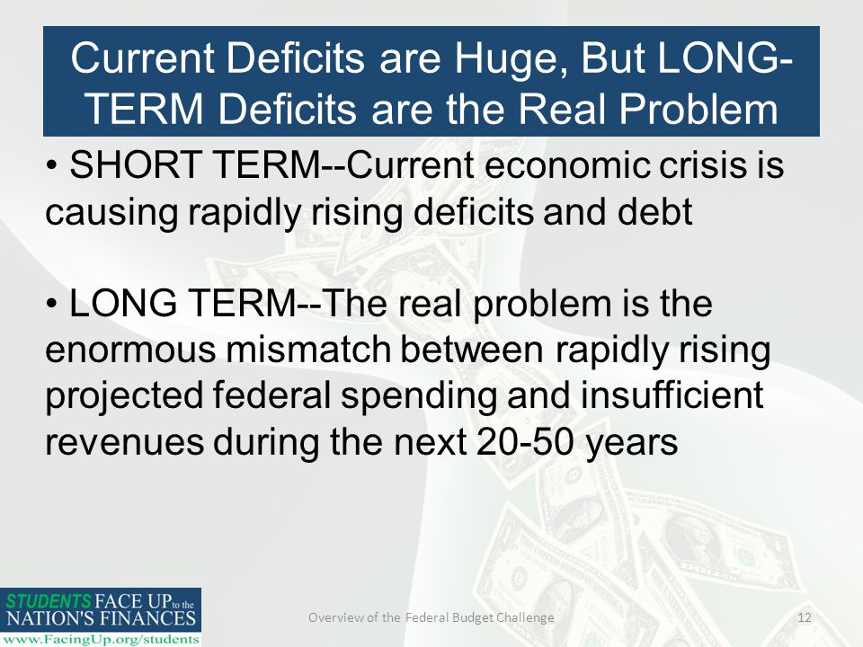 Overview of the Federal Budget Challenge12 SHORT TERM--Current economic crisis is causing rapidly rising deficits and debt LONG TERM--The real problem is the enormous mismatch between rapidly rising projected federal spending and insufficient revenues during the next years Current Deficits are Huge, But LONG- TERM Deficits are the Real Problem
