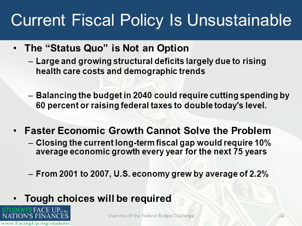 Overview of the Federal Budget Challenge24 Current Fiscal Policy Is Unsustainable The Status Quo is Not an Option –Large and growing structural deficits largely due to rising health care costs and demographic trends –Balancing the budget in 2040 could require cutting spending by 60 percent or raising federal taxes to double today s level.