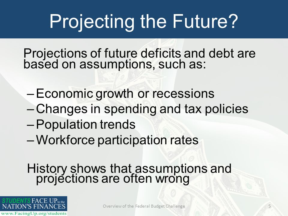 Overview of the Federal Budget Challenge5 Projecting the Future.