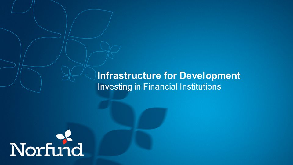Infrastructure for Development Investing in Financial Institutions