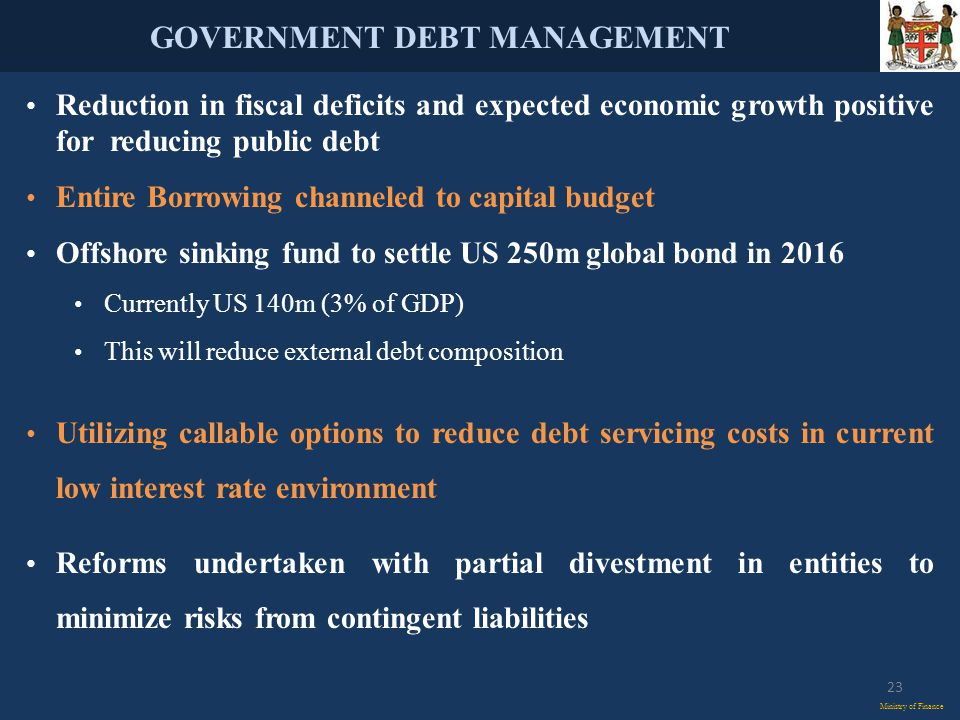 GOVERNMENT DEBT MANAGEMENT Ministry of Finance Reduction in fiscal deficits and expected economic growth positive for reducing public debt Entire Borrowing channeled to capital budget Offshore sinking fund to settle US 250m global bond in 2016 Currently US 140m (3% of GDP) This will reduce external debt composition Utilizing callable options to reduce debt servicing costs in current low interest rate environment Reforms undertaken with partial divestment in entities to minimize risks from contingent liabilities 23