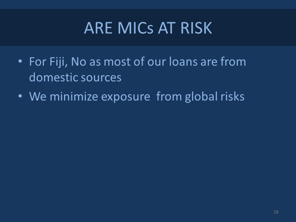 ARE MICs AT RISK For Fiji, No as most of our loans are from domestic sources We minimize exposure from global risks 28