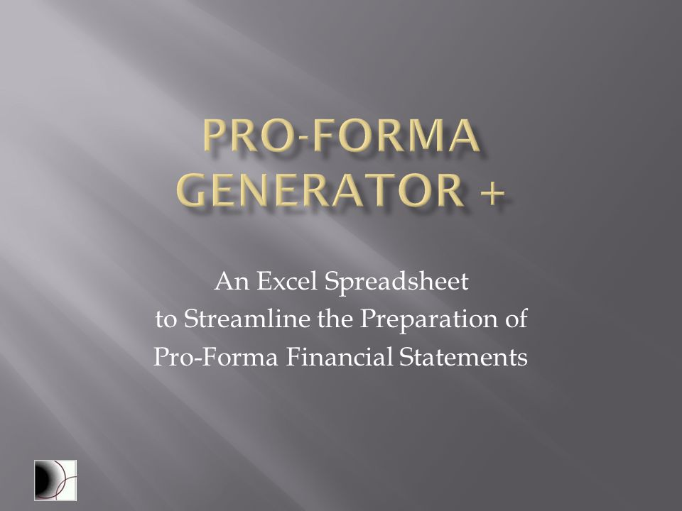 pro forma spreadsheets excel