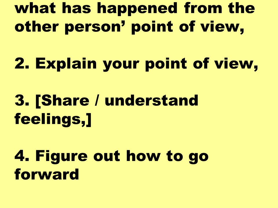 1. You want to understand what has happened from the other person' point of view, 2.