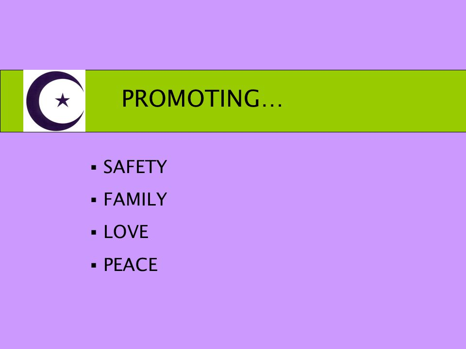 PROMOTING…  SAFETY  FAMILY  LOVE  PEACE