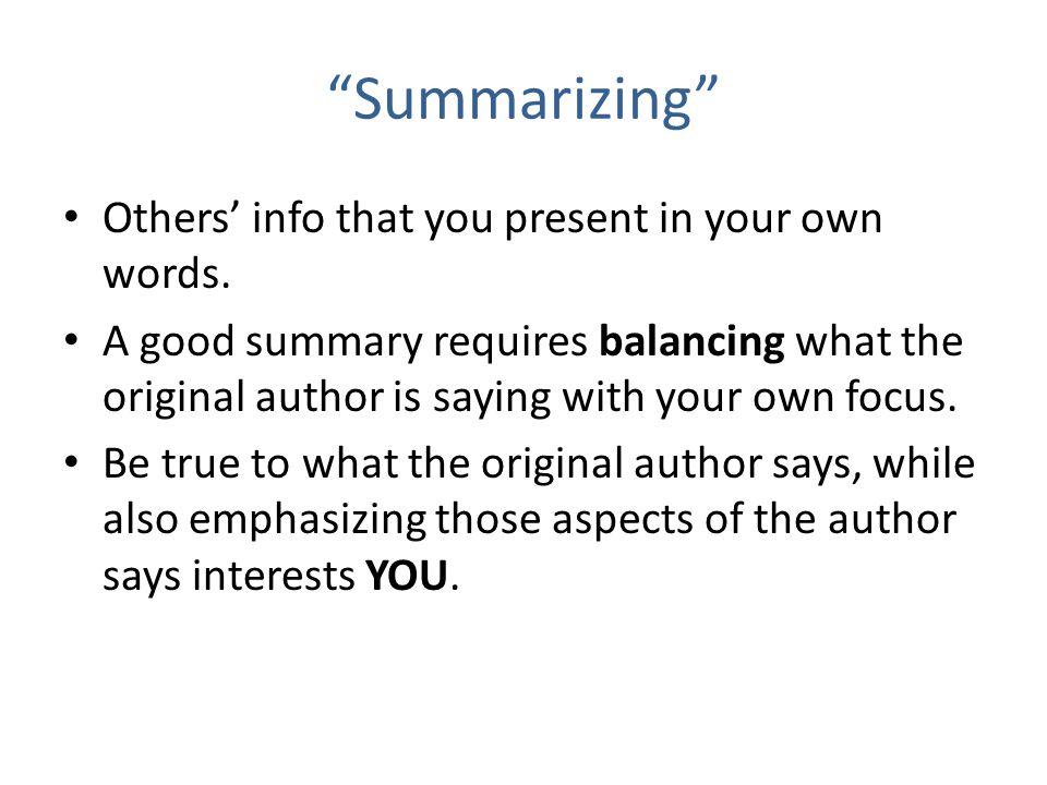 Summarizing words