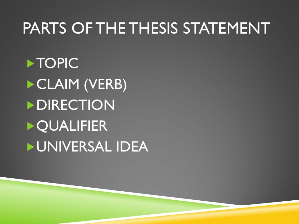 PARTS OF THE THESIS STATEMENT  TOPIC  CLAIM (VERB)  DIRECTION  QUALIFIER  UNIVERSAL IDEA