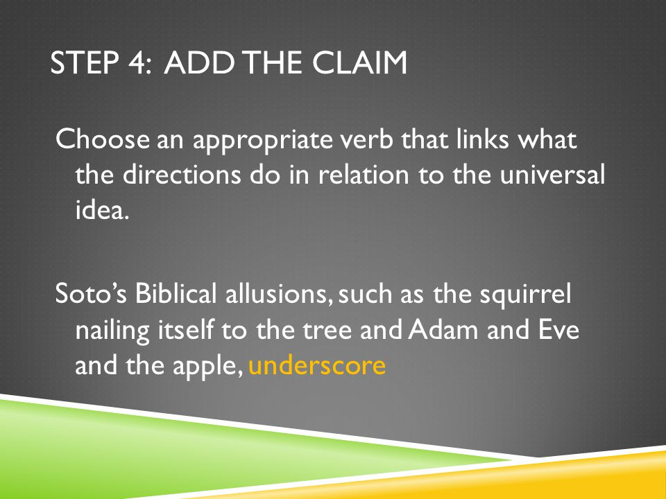 STEP 4: ADD THE CLAIM Choose an appropriate verb that links what the directions do in relation to the universal idea.