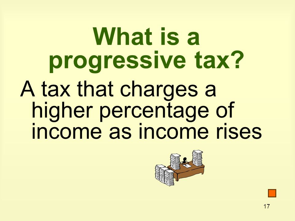 17 What is a progressive tax A tax that charges a higher percentage of income as income rises