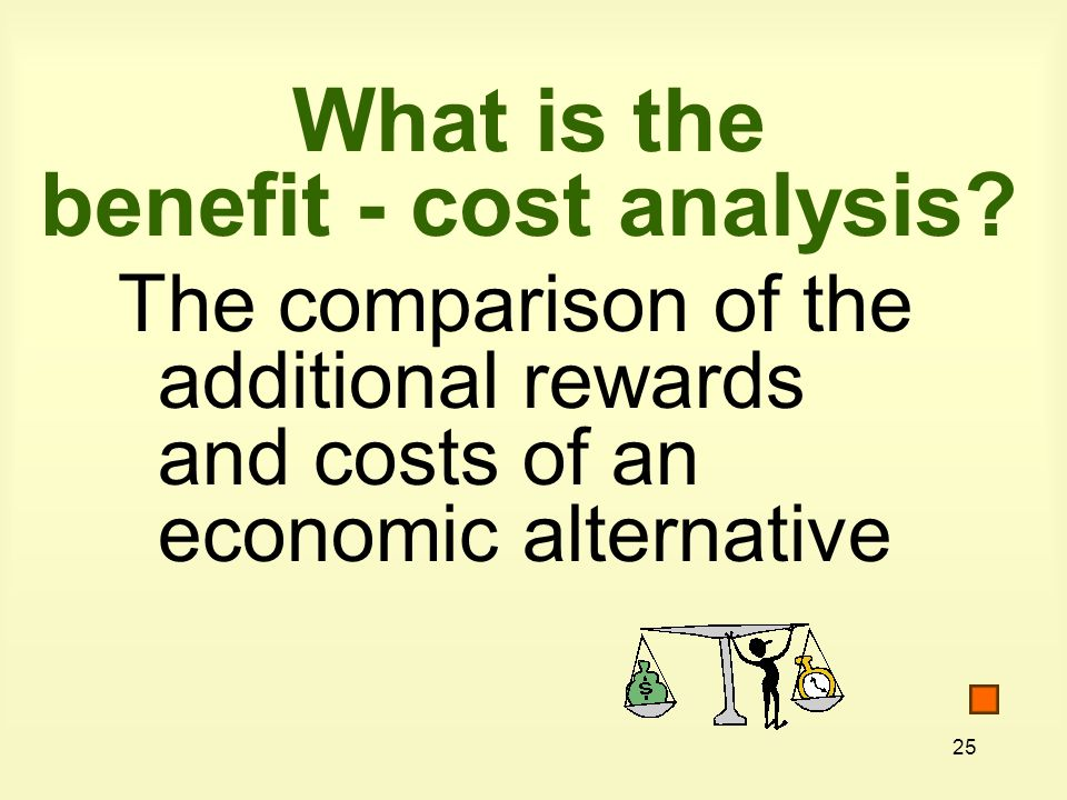 25 What is the benefit - cost analysis.