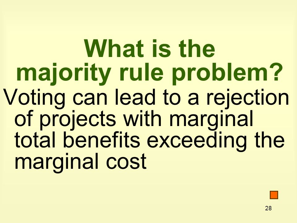 28 What is the majority rule problem.