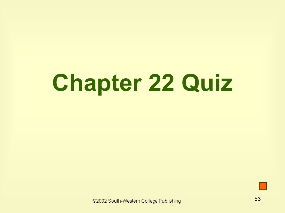 53 Chapter 22 Quiz ©2002 South-Western College Publishing