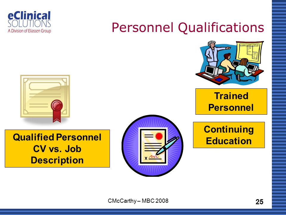 25 CMcCarthy – MBC 2008 Personnel Qualifications Qualified Personnel CV vs.