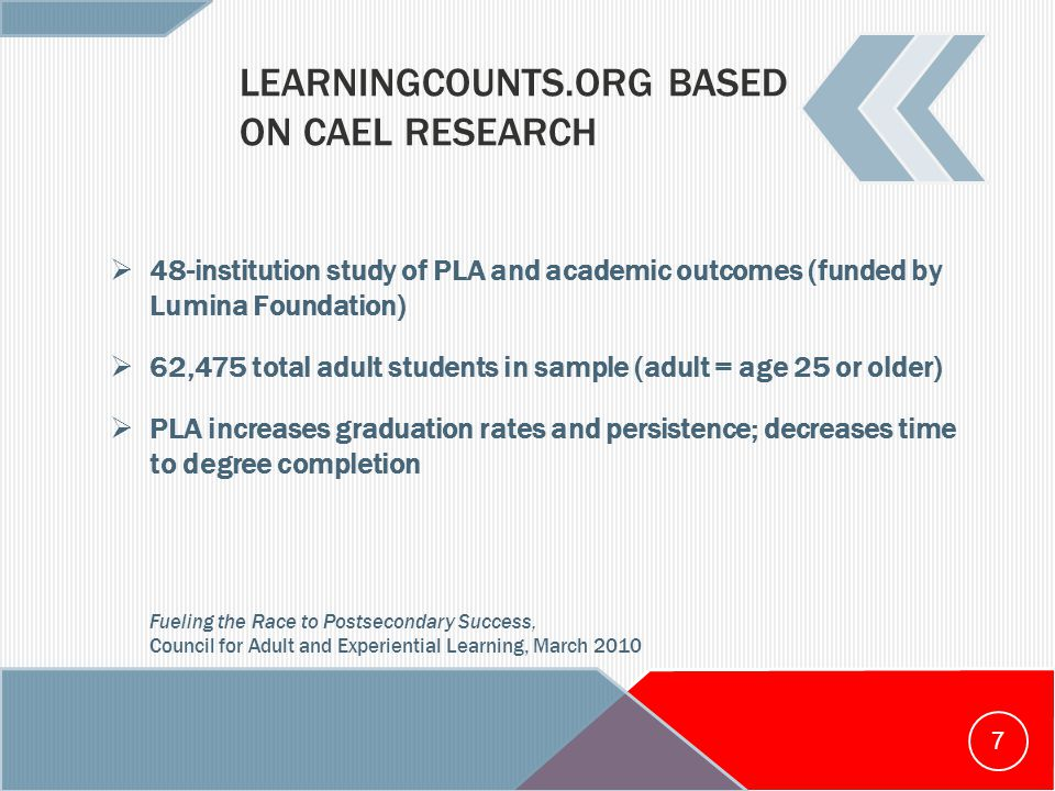 LEARNINGCOUNTS.ORG BASED ON CAEL RESEARCH  48-institution study of PLA and academic outcomes (funded by Lumina Foundation)  62,475 total adult students in sample (adult = age 25 or older)  PLA increases graduation rates and persistence; decreases time to degree completion Fueling the Race to Postsecondary Success, Council for Adult and Experiential Learning, March