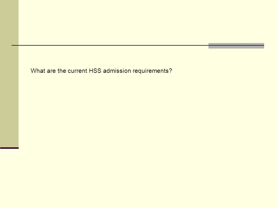 What are the current HSS admission requirements