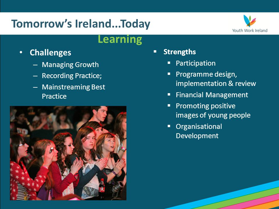 Tomorrow's Ireland...Today Learning Challenges – Managing Growth – Recording Practice; – Mainstreaming Best Practice  Strengths  Participation  Programme design, implementation & review  Financial Management  Promoting positive images of young people  Organisational Development