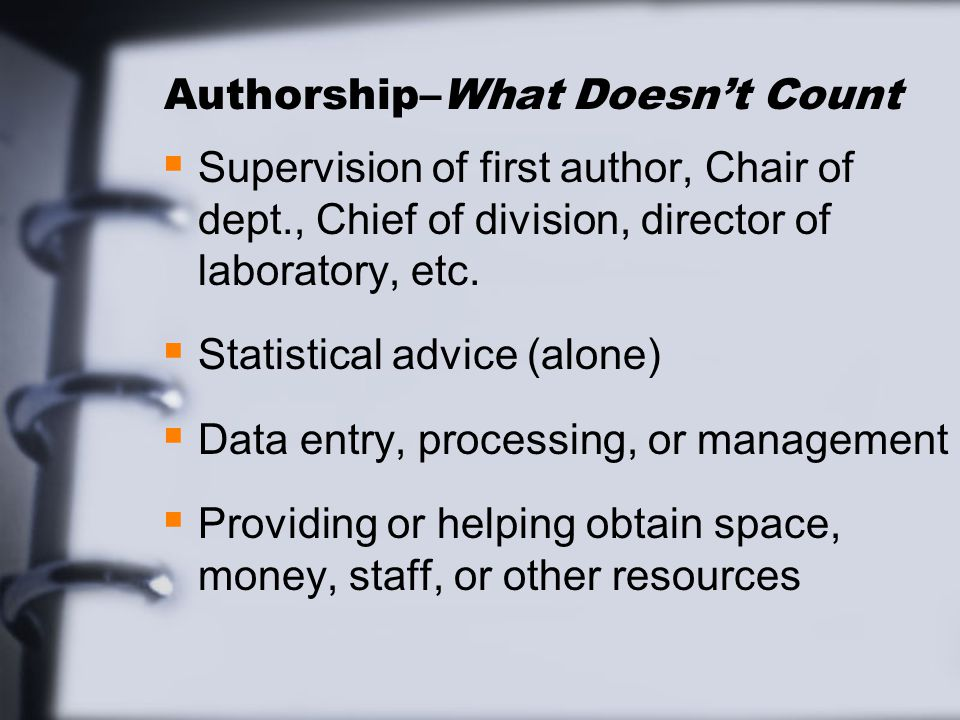 Order of authors      names The senior author sometimes takes responsibility for writing the paper  SlidePlayer