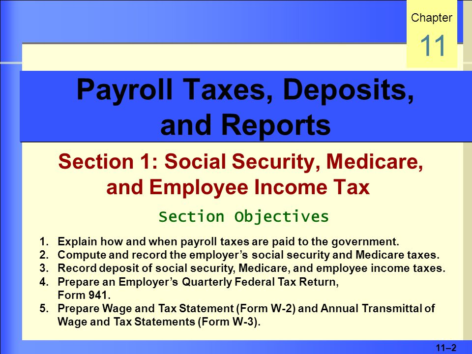 11–2 Payroll Taxes, Deposits, and Reports Section 1: Social Security, Medicare, and Employee Income Tax Chapter 11 Section Objectives 1.Explain how and when payroll taxes are paid to the government.