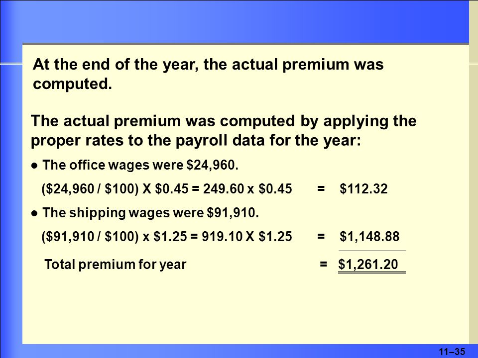 11–35 At the end of the year, the actual premium was computed.