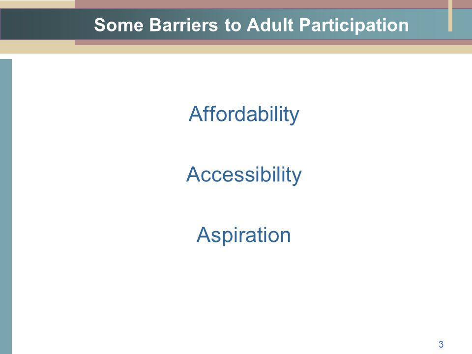Some Barriers to Adult Participation Affordability Accessibility Aspiration 3