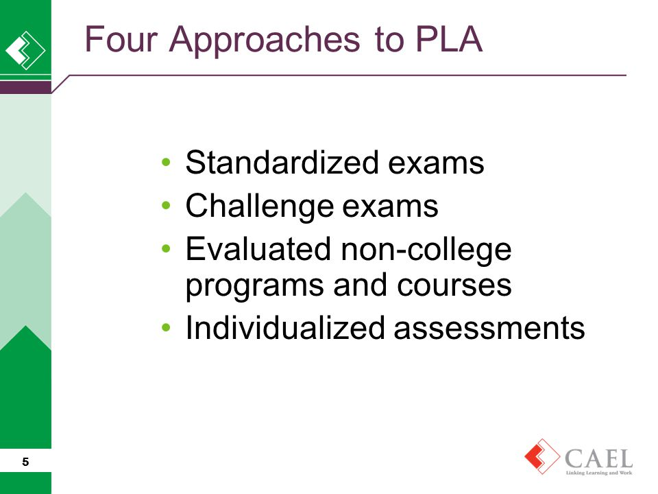 Four Approaches to PLA Standardized exams Challenge exams Evaluated non-college programs and courses Individualized assessments 5