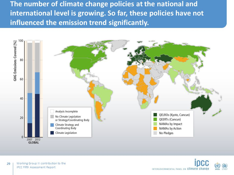 Working Group III contribution to the IPCC Fifth Assessment Report The number of climate change policies at the national and international level is growing.