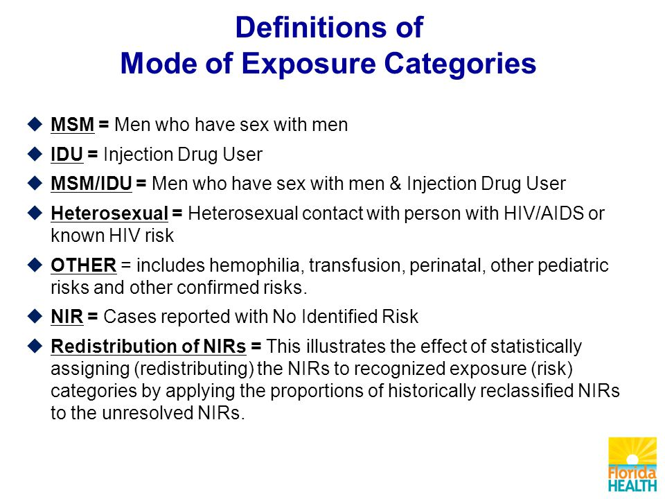 Definitions of Mode of Exposure Categories  MSM = Men who have sex with men  IDU = Injection Drug User  MSM/IDU = Men who have sex with men & Injection Drug User  Heterosexual = Heterosexual contact with person with HIV/AIDS or known HIV risk  OTHER = includes hemophilia, transfusion, perinatal, other pediatric risks and other confirmed risks.