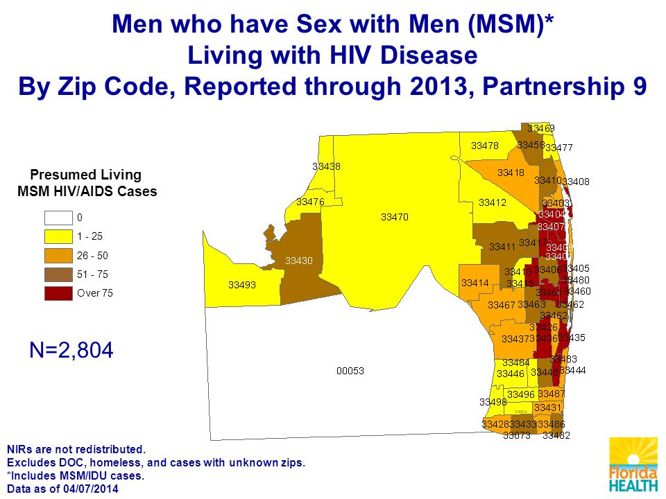 Presumed Living MSM HIV/AIDS Cases Over N=2,804 Men who have Sex with Men (MSM)* Living with HIV Disease By Zip Code, Reported through 2013, Partnership 9 NIRs are not redistributed.