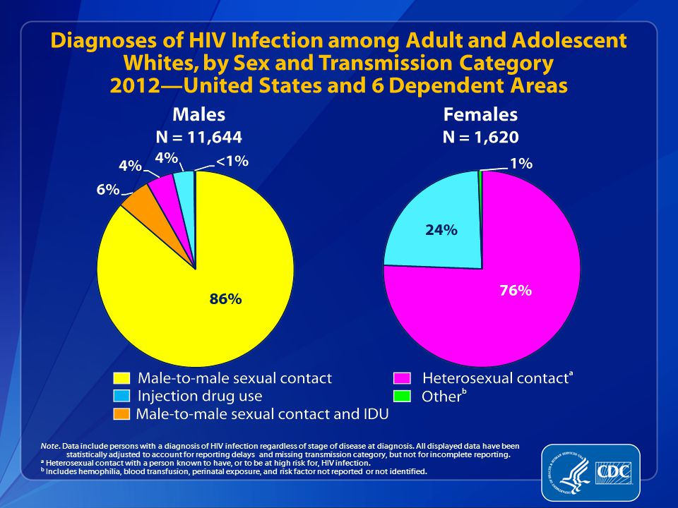 Diagnoses of HIV Infection among Adult and Adolescent Whites, by Sex and Transmission Category 2012—United States and 6 Dependent Areas Note.