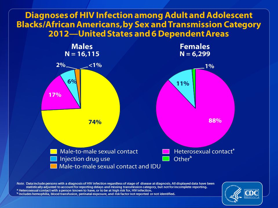 Diagnoses of HIV Infection among Adult and Adolescent Blacks/African Americans, by Sex and Transmission Category 2012—United States and 6 Dependent Areas Note.