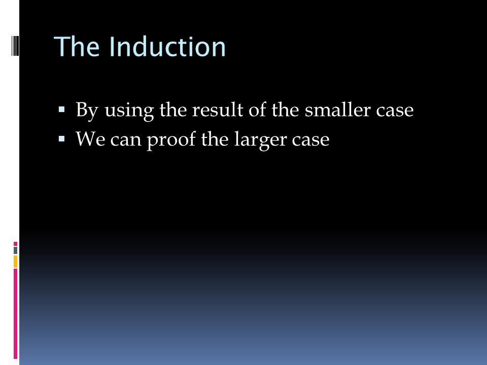 The Induction  By using the result of the smaller case  We can proof the larger case