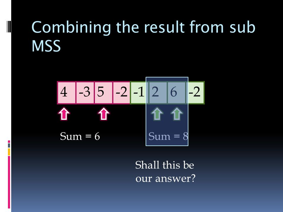 Combining the result from sub MSS Sum = 6Sum = 8 Shall this be our answer