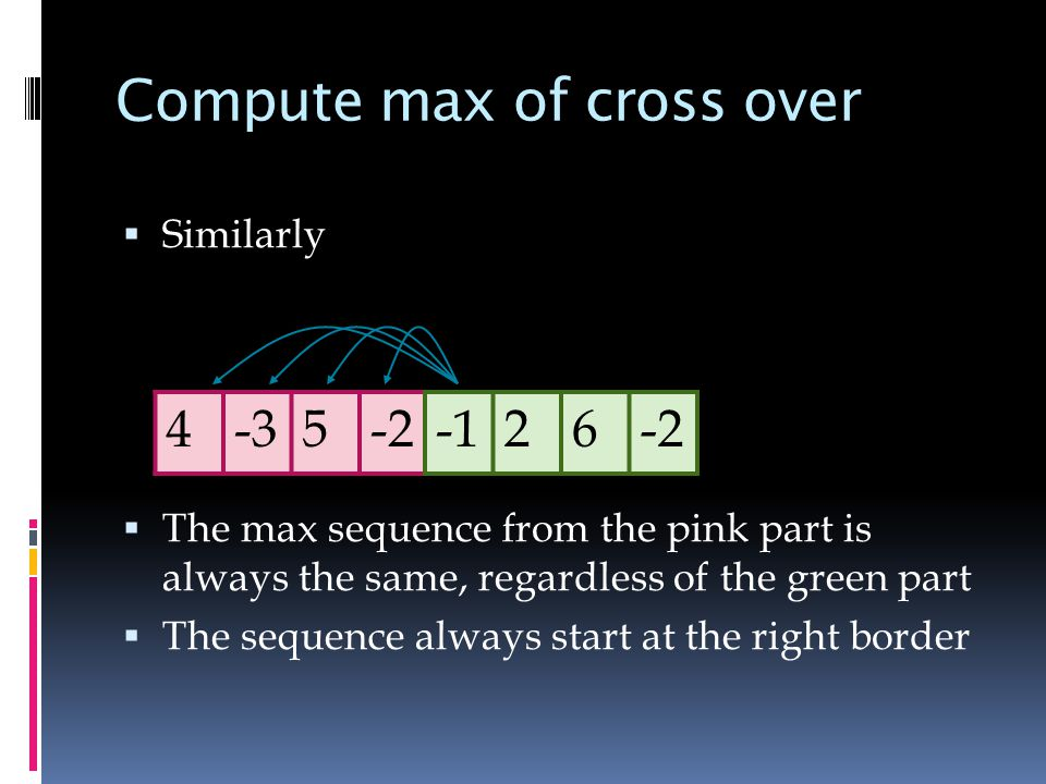 Compute max of cross over  Similarly  The max sequence from the pink part is always the same, regardless of the green part  The sequence always start at the right border