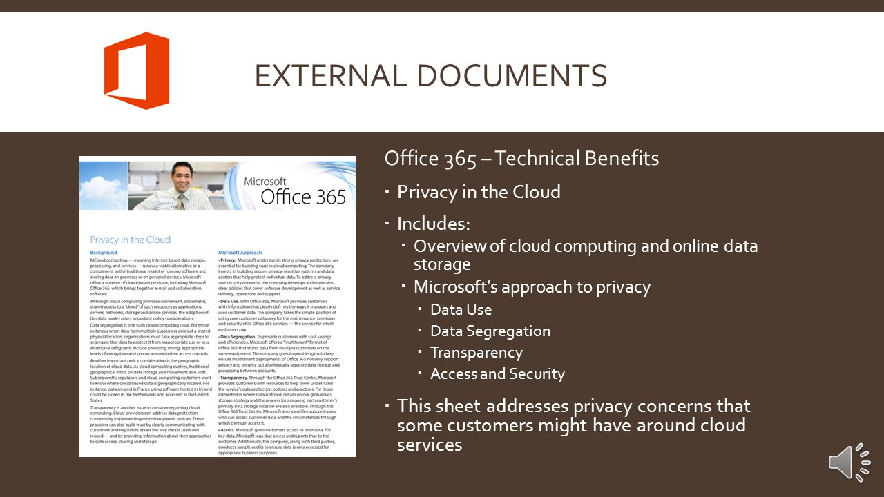 Office 365 – Technical Benefits  Accessibility  Includes:  Details of Office Web Apps  Office 365 in Windows and Internet Explorer  Accessibility in SharePoint Online  This sheet offers a great understanding of the multitude of ways Office 365 customers can access their applications as part of the service  The Technical Benefit sheets are useful for both prospective Office 365 customers as well as for general AE knowledge