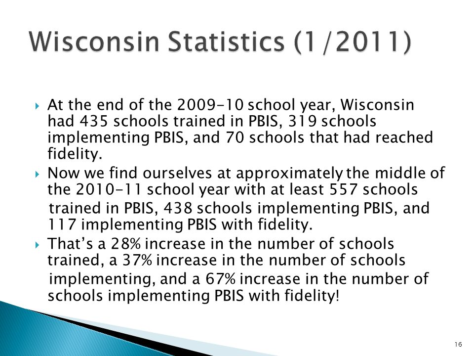  At the end of the school year, Wisconsin had 435 schools trained in PBIS, 319 schools implementing PBIS, and 70 schools that had reached fidelity.