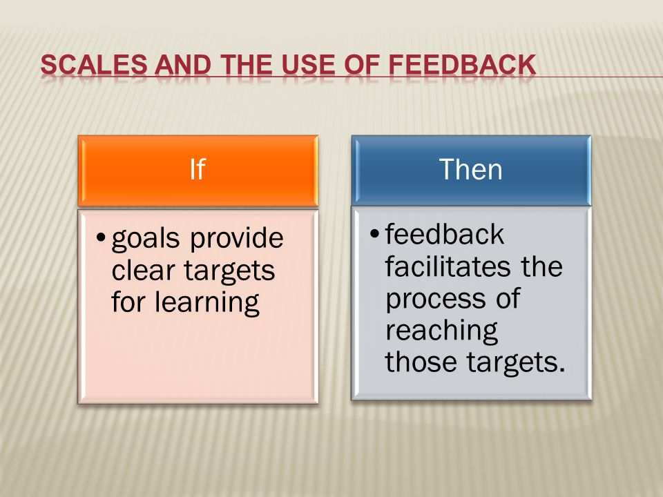 If goals provide clear targets for learning Then feedback facilitates the process of reaching those targets.