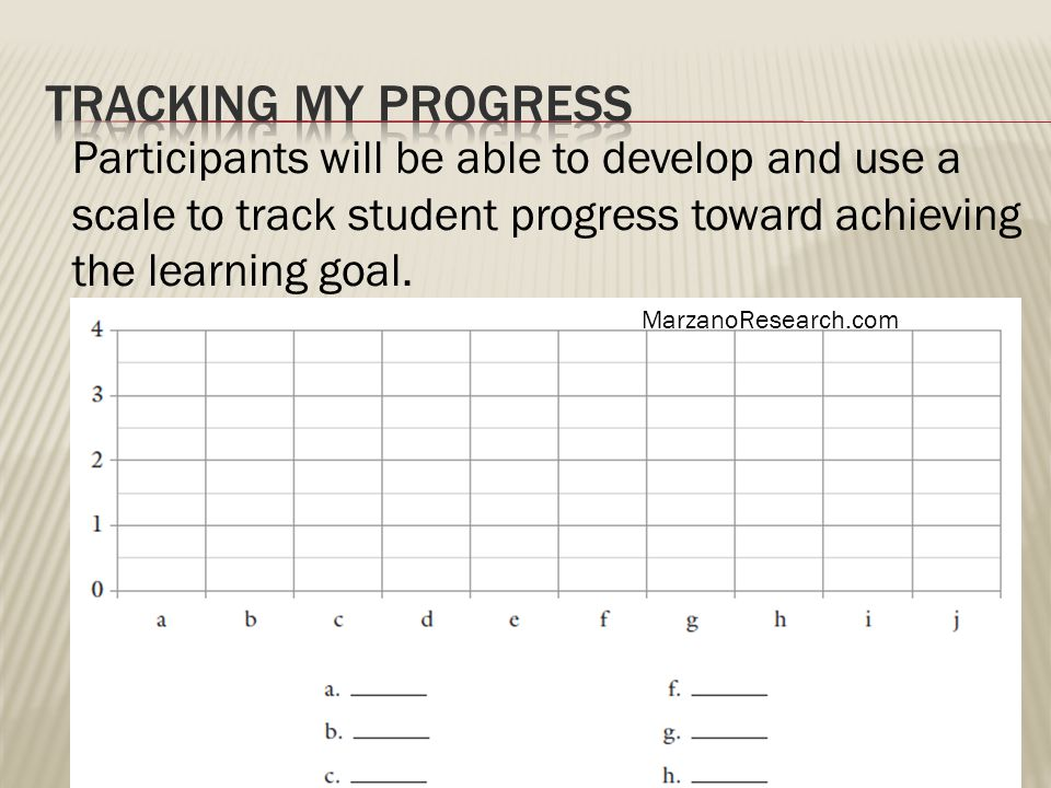 Participants will be able to develop and use a scale to track student progress toward achieving the learning goal.