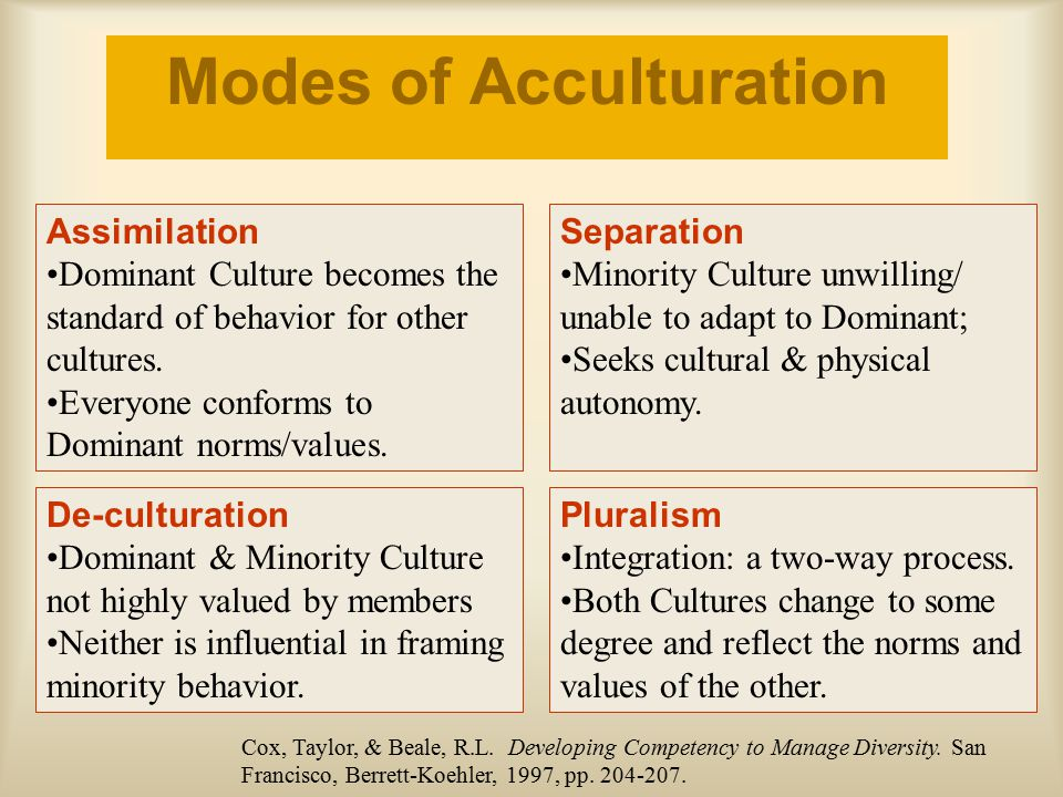 Modes of Acculturation Assimilation Dominant Culture becomes the standard of behavior for other cultures. Everyone conforms to Dominant norms/values.