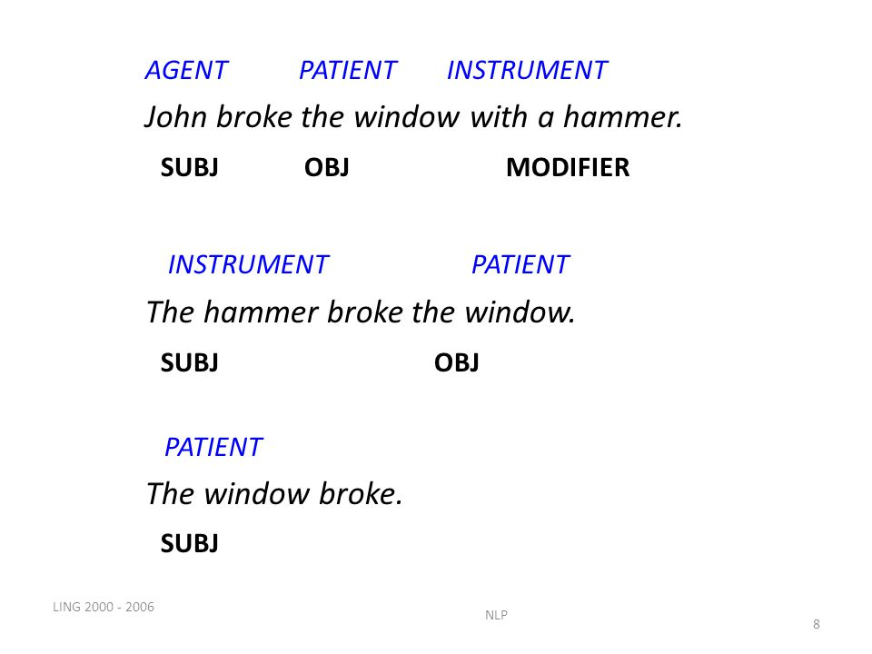 LING NLP 8 AGENT PATIENT INSTRUMENT John broke the window with a hammer.