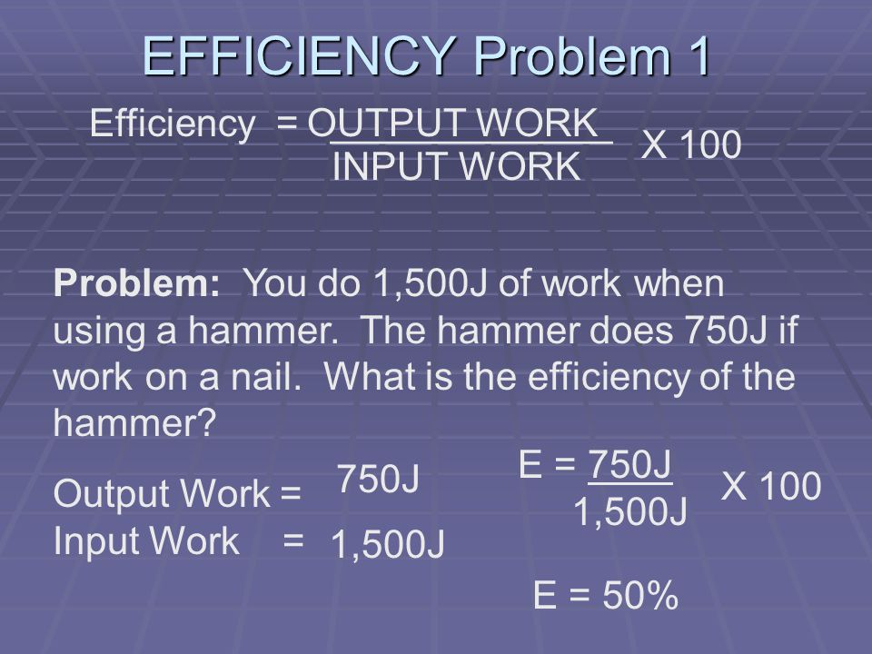 EFFICIENCY Problem 1 Efficiency = _____________ X 100 OUTPUT WORK INPUT WORK Problem: You do 1,500J of work when using a hammer.